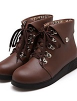 Women's Boots Combat Boots Spring Fall PU Casual Flat Heel White Black Brown Under 1in