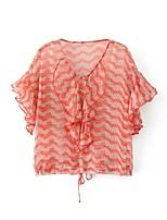 Для женщин На выход На каждый день Офис Весна Осень Рубашка V-образный вырез,Простое Очаровательный Уличный стиль С принтомС короткими