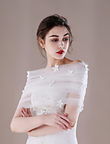 Women's Wrap Capelets Tulle Wedding Party/ Evening Applique Pleated Pearls
