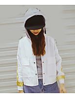 レディース 日常 春 夏 ジャケット,カジュアル フード付き カラーブロック レギュラー ポリエステル 長袖
