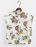 Women's Daily Casual Simple Shirt,Print Shirt Collar Sleeveless Polyester