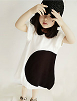 Girl's Fashion And Lovely  Cotton Black And White Stitching Collar Short Sleeve Dress