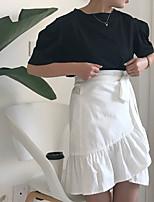 Для женщин Повседневные Весна Лето Как у футболки Юбки Костюмы Круглый вырез,На каждый день Милая МодаОднотонный Текстура Сексуальные