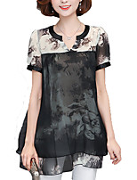 Women's Going out Work Simple Sophisticated All Seasons Blouse,Print V Neck Short Sleeve Polyester