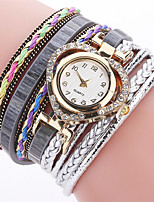 XU Women's Luxurious Elegant Quartz PU Twist Braid Around Bracelet Watch