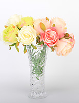 Roses Bouquet Simulation of Rose Fake Flowers Wedding Silk Flower Home Decoration Bride Holding Flowers 7 Branch/Bundle