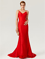 TS Couture Formal Evening Dress - Open Back Celebrity Style Trumpet / Mermaid Spaghetti Straps Court Train Lace Taffeta with Buttons Lace