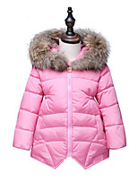 Girls' Fashion Solid Color Down & Cotton Padded,Cotton Raccoon Fur Winter Long Sleeve