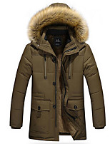 Men's Regular Padded Coat,Simple Daily Solid-Cotton Others Polypropylene Long Sleeve