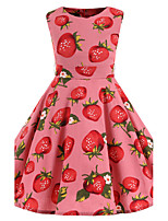 Girl's Pink Strawberry Vintage Inspired Sleeveless 50s Rockabilly Swing Dress Cotton All Seasons