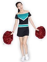 Fantasias para Cheerleader Vestidos Mulheres Apresentação Roupa de Malha Recortes 1 Peça Manga Curta Natural Vestidos