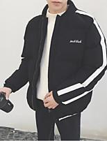 Пальто Простое Активный На подкладке Для мужчин,Однотонный Контрастных цветов Повседневные Хлопок Искусственный шёлк Полиэстер Хлопок,