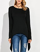 Women's Daily Street chic Spring Summer T-shirt,Solid Round Neck Long Sleeve Cotton Thin