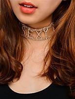Women's Choker Necklaces Rhinestone Alphabet Shape Rhinestones Cooper Unique Design Euramerican Fashion Personalized Initial Jewelry