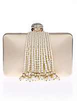 Women Bags All Seasons Polyester Evening Bag with Rhinestone Pearl Detailing Tassel for Event/Party Champagne Black Silver Red Apricot
