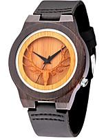 Homens Relógio Esportivo Relógio de Moda Relógio de Pulso Único Criativo relógio Relógio Casual Relógio Madeira Quartzo de madeiraCouro