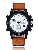 Men's Sport Watch Chinese Quartz Large Dial Leather Band Cool Black Brown Green Purple Khaki