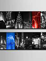 E-HOME Stretched Canvas Art Psychedelic City Night Scene Decoration Painting One Pcs