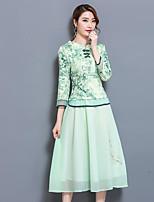 Для женщин Повседневные Лето Рубашка Юбки Костюмы Воротник-стойка,Современный Цветочный принт