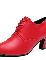 Women's Dance Shoes Heels Latin Leatherette Chunky Heel Black/Red