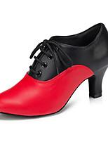 Для женщин Латина Искусственное волокно На каблуках Для закрытой площадки Красный 5 - 6,8 см Персонализируемая