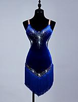 Shall We Latin Dance Dresses Women's Performance Spandex Organza Crystals/Rhinestones