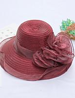 Для женщин Шапки Цветы Панама Широкополая шляпа,Весна/осень Лето Органза Однотонный Разные цвета