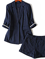 Women's Casual/Daily Simple Summer Shirt Pant Suits,Striped Shirt Collar ¾ Sleeve Micro-elastic