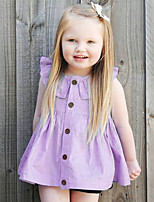 Girl's Fashion And Lovely  Cotton Comfortable Doll Led Purple Cardigan Dress
