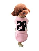 Cachorro Moletom Roupas para Cães Casual Carta e Número Cinzento Amarelo Rosa claro