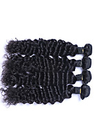 Popular Short Size 4 Pcs 400g Brazilian Virgin Remy Human Hair Wefts 100% Unprocessed Deep Wave Human Hair Weaves Natural Black Human Hair Extensions