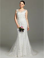 Mermaid / Trumpet V-neck Court Train Lace Wedding Dress with Appliques Buttons by LAN TING BRIDE®