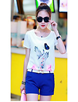 Women's Casual/Daily Casual Summer T-shirt Pant Suits,Solid Round Neck Short Sleeve