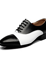 Men's Latin Real Leather Heels Professional Brown/White Black/White