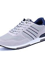 Women's Athletic Shoes Comfort Light Soles PU Spring Fall Athletic Walking Comfort Light Soles Lace-up Flat Heel Navy Blue Gray Flat