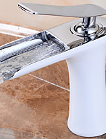 Deck Mounted Bathroom Brass Waterfall Faucet Basin Mixer Tap with Hot and Cold Water Brushed Chrome and White Finished