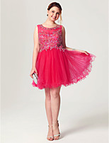 Princess Scoop Neck Short / Mini Tulle Cocktail Party Dress with Beading