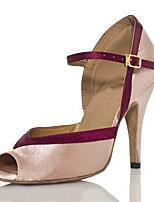 Damen Latin Seide Sandalen Sneakers Professionell Verschlussschnalle Stöckelabsatz Hautfarben 5 - 6,8 cm Maßfertigung
