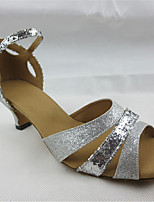 Women's Latin Glitter Sandals Performance Splicing Cuban Heel Silver 1