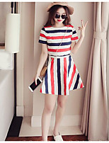 Women's Casual Simple Summer T-shirt Skirt Suits,Striped Round Neck Short Sleeve Micro-elastic