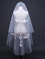 Wedding Veil Two-tier Shoulder Veils Elbow Veils Cut Edge Lace Applique Edge Pencil Edge Tulle