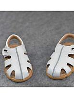 Mädchen Flache Schuhe Lauflern Leder Frühling Herbst Normal Walking Lauflern Klettverschluss Niedriger Absatz Weiß Gelb Flach