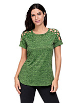 Women's Traveling Going out Simple Summer T-shirt,Solid Round Neck Short Sleeve Polyester Spandex Medium