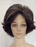 Synthetic Dark Brown with Blonde Highlights Woman Shag Wig  High Temperature Fiber Curly Hair