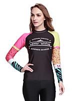SBART Femme Costumes humides Chinlon Tenue de plongée Manches Longues Hauts/Tops-Plage Sports Nautiques Plongée Toutes les Saisons Rayure