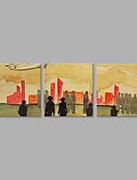 Ручная роспись Люди Горизонтальная,Художественный 3 панели Холст Hang-роспись маслом For Украшение дома
