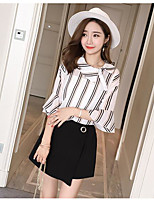 Women's Casual/Daily Casual Summer T-shirt Skirt Suits,Striped Color Block Round Neck 1/2 Length Sleeve