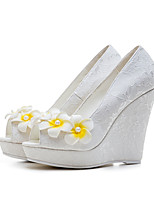 Women's Heels Basic Pump Spring Summer Lace TPU Wedding Flower Wedge Heel White 4in-4 3/4in