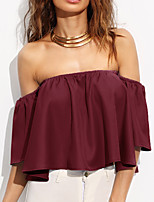 Women's Other Daily Casual Date Going out Casual/Daily Sexy Simple Street chic Spring Summer Blouse,Solid Boat Neck Short Sleeves