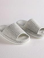Cottonfabric Striped slipper Spring Summer Fall Household     Dark brown  L size
